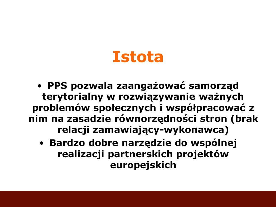 Istota PPS pozwala zaangażować samorząd terytorialny w rozwiązywanie ważnych problemów społecznych i współpracować z nim na zasadzie równorzędności st