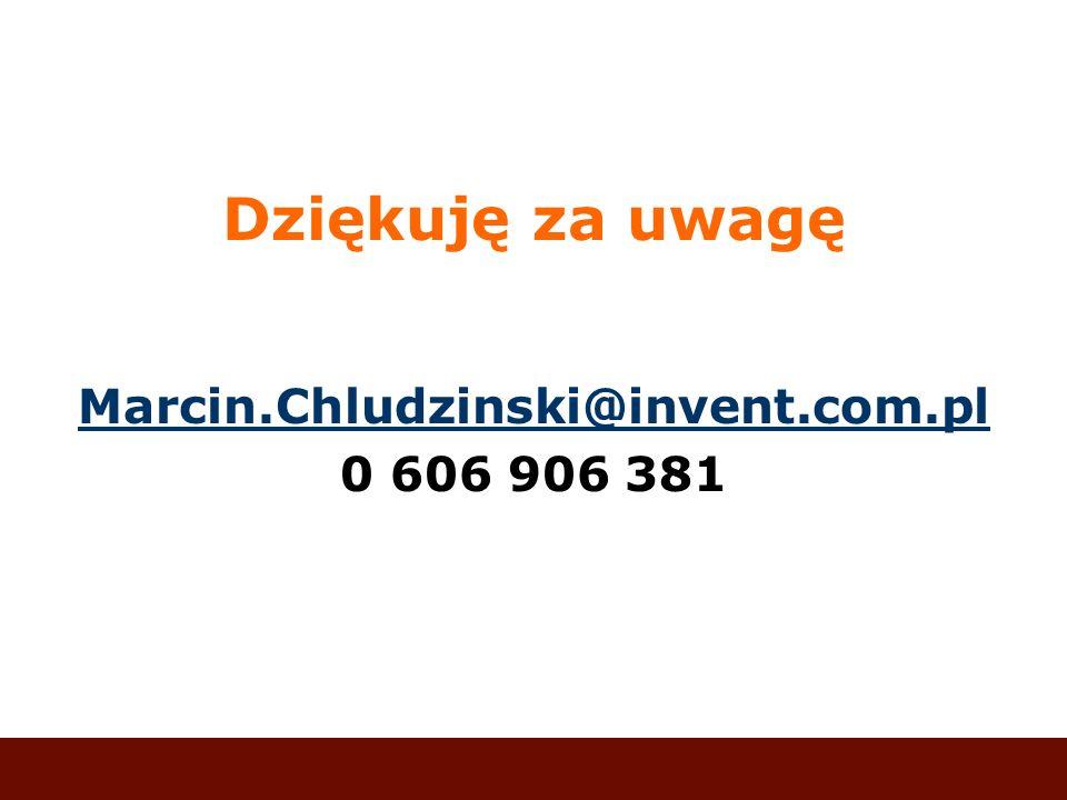 Dziękuję za uwagę Marcin.Chludzinski@invent.com.pl 0 606 906 381