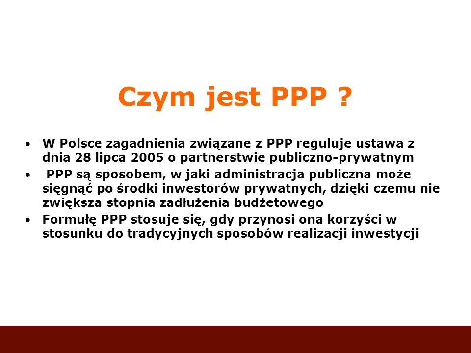 Czym jest PPP ? W Polsce zagadnienia związane z PPP reguluje ustawa z dnia 28 lipca 2005 o partnerstwie publiczno-prywatnym PPP są sposobem, w jaki ad