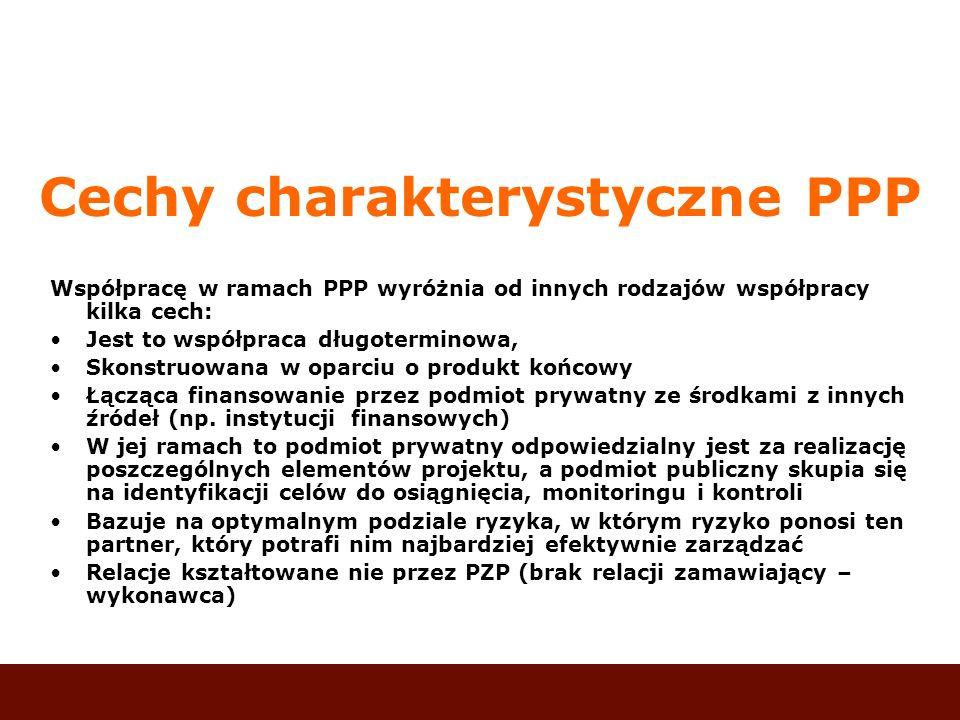 Cechy charakterystyczne PPP Współpracę w ramach PPP wyróżnia od innych rodzajów współpracy kilka cech: Jest to współpraca długoterminowa, Skonstruowan