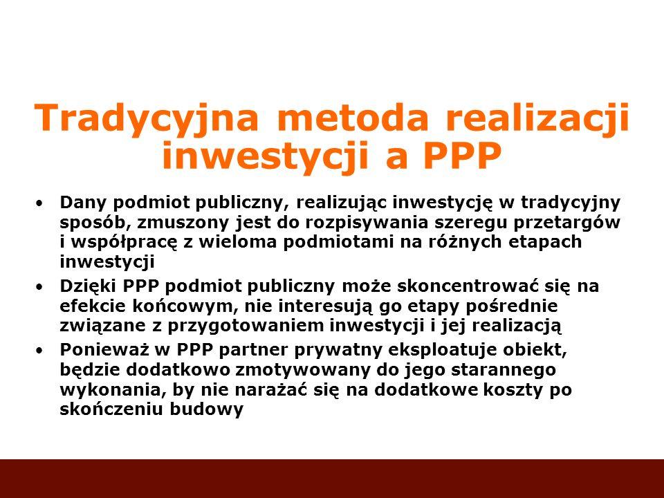 Tradycyjna metoda realizacji inwestycji a PPP Dany podmiot publiczny, realizując inwestycję w tradycyjny sposób, zmuszony jest do rozpisywania szeregu