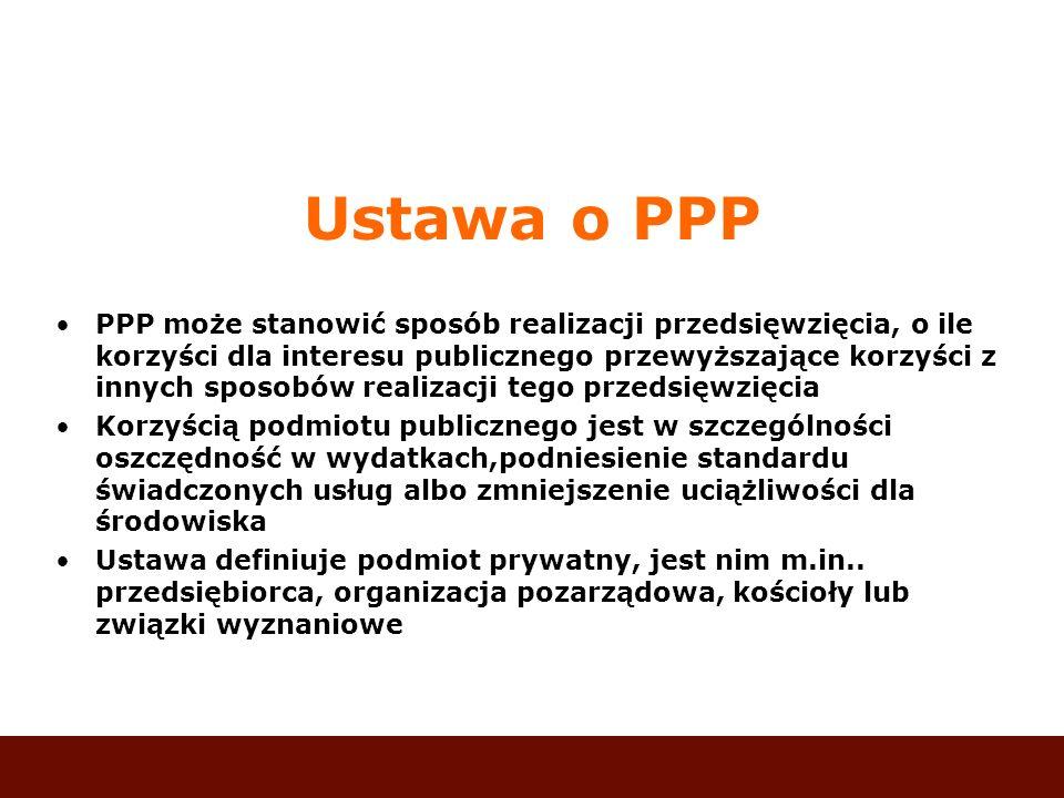 Ustawa o PPP PPP może stanowić sposób realizacji przedsięwzięcia, o ile korzyści dla interesu publicznego przewyższające korzyści z innych sposobów re