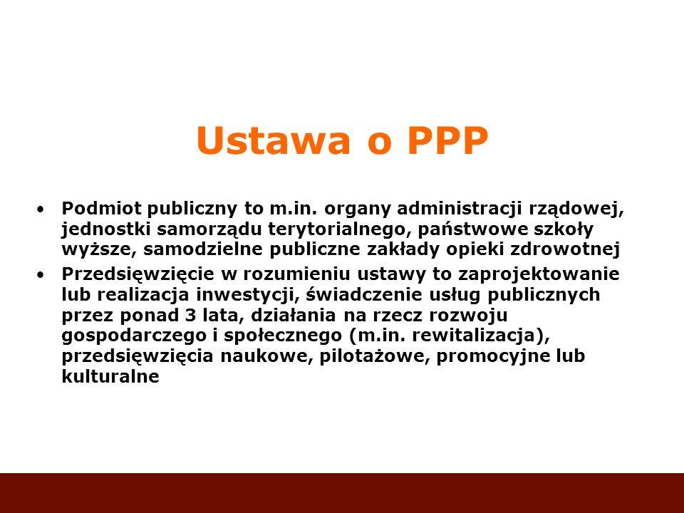 Ustawa o PPP Podmiot publiczny to m.in. organy administracji rządowej, jednostki samorządu terytorialnego, państwowe szkoły wyższe, samodzielne public