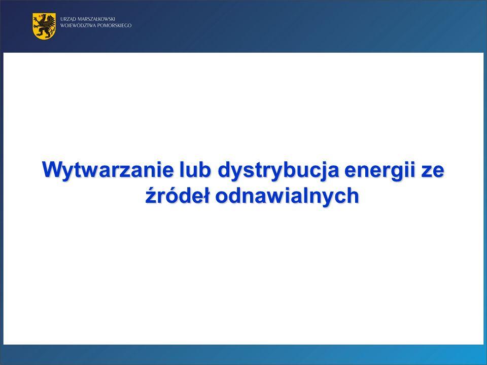 Wytwarzanie lub dystrybucja energii ze źródeł odnawialnych