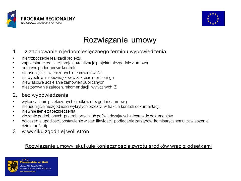 Rozwiązanie umowy 1. z zachowaniem jednomiesięcznego terminu wypowiedzenia nierozpoczęcie realizacji projektu zaprzestanie realizacji projektu/realiza