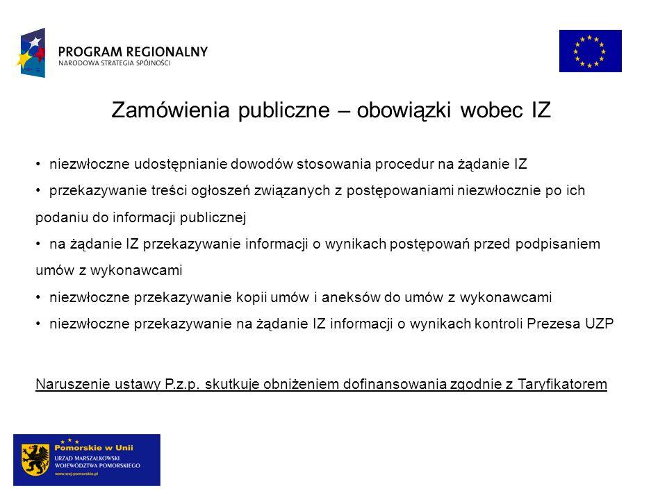 Zamówienia publiczne – obowiązki wobec IZ niezwłoczne udostępnianie dowodów stosowania procedur na żądanie IZ przekazywanie treści ogłoszeń związanych