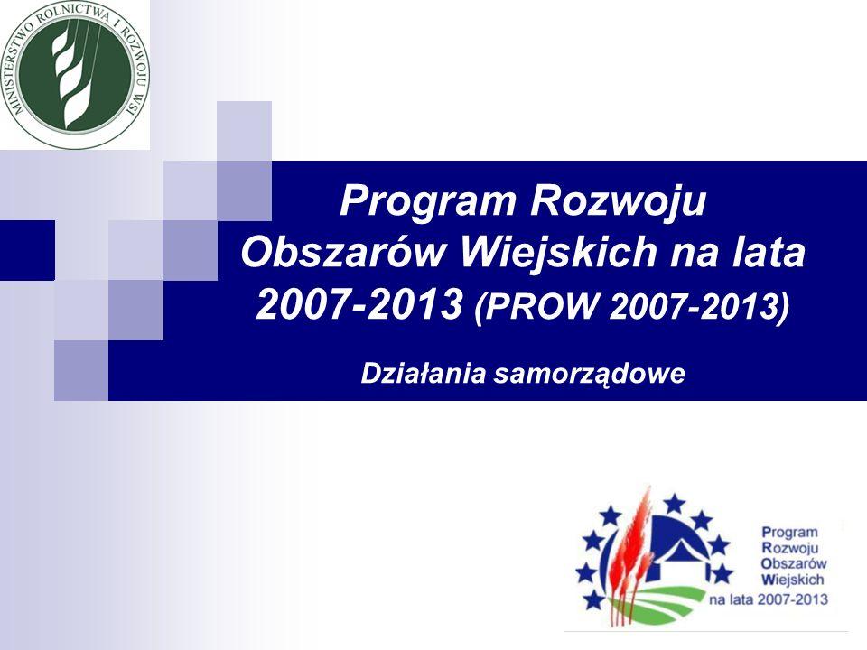 FINANSOWANIE WSPÓLNEJ POLITYKI ROLNEJ (WPR) W LATACH 2007-2013 W latach 2007-2013 WPR finansowana będzie przez dwa fundusze: Europejski Fundusz Gwarancji Rolnej (EFGR) – płatności bezpośrednie, mechanizmy rynkowe Europejski Fundusz Rolny na rzecz Rozwoju Obszarów Wiejskich (EFRROW) – Program Rozwoju Obszarów Wiejskich na lata 2007 – 2013 (PROW 2007-2013)