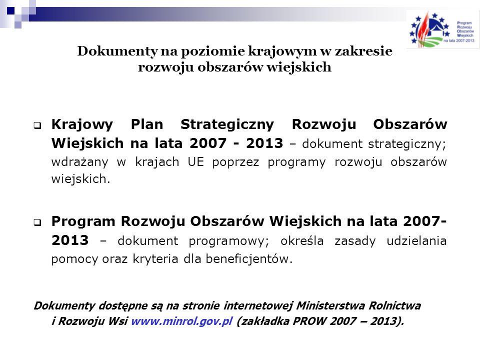Dokumenty na poziomie krajowym w zakresie rozwoju obszarów wiejskich Krajowy Plan Strategiczny Rozwoju Obszarów Wiejskich na lata 2007 - 2013 – dokume