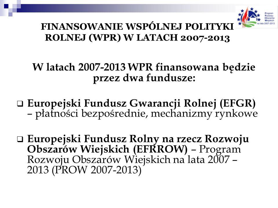 FINANSOWANIE WSPÓLNEJ POLITYKI ROLNEJ (WPR) W LATACH 2007-2013 W latach 2007-2013 WPR finansowana będzie przez dwa fundusze: Europejski Fundusz Gwaran