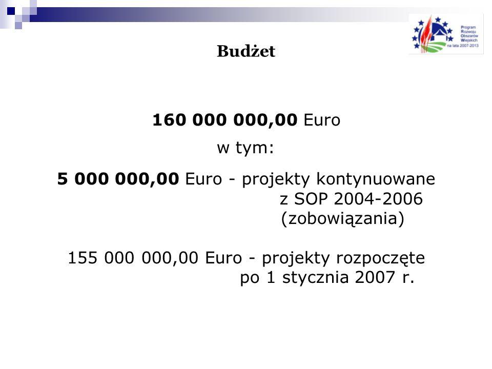 Budżet 160 000 000,00 Euro w tym: 5 000 000,00 Euro - projekty kontynuowane z SOP 2004-2006 (zobowiązania) 155 000 000,00 Euro - projekty rozpoczęte p