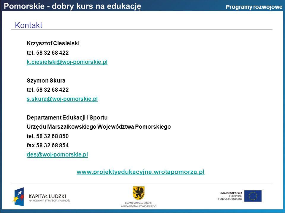 Krzysztof Ciesielski tel. 58 32 68 422 k.ciesielski@woj-pomorskie.pl Szymon Skura tel.