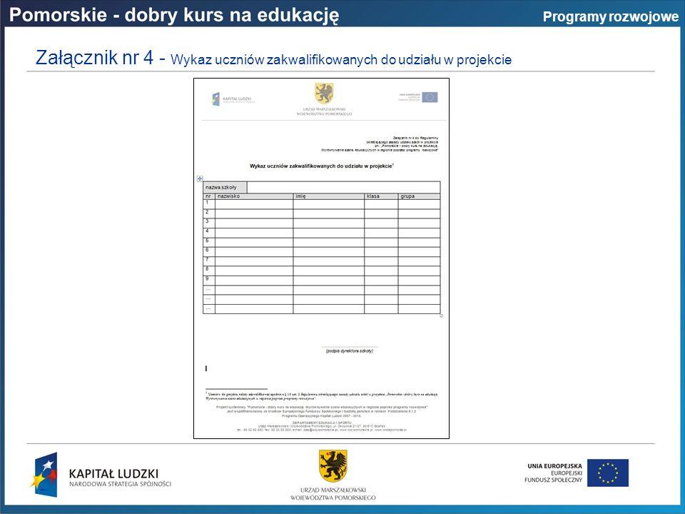 Załącznik nr 4 - Wykaz uczniów zakwalifikowanych do udziału w projekcie Programy rozwojowe