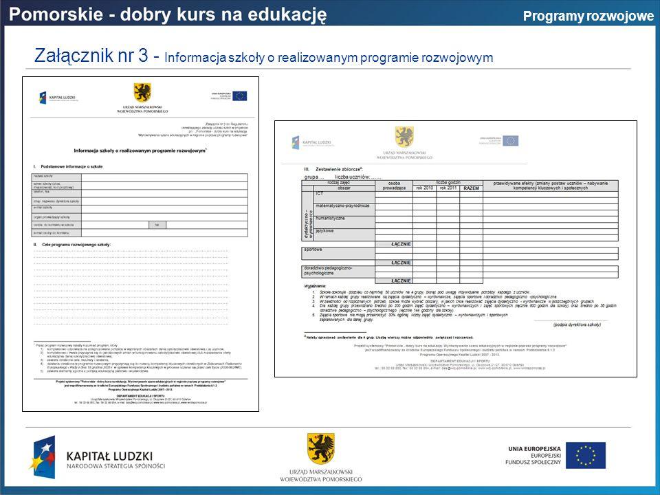 Załącznik nr 3 - Informacja szkoły o realizowanym programie rozwojowym Programy rozwojowe