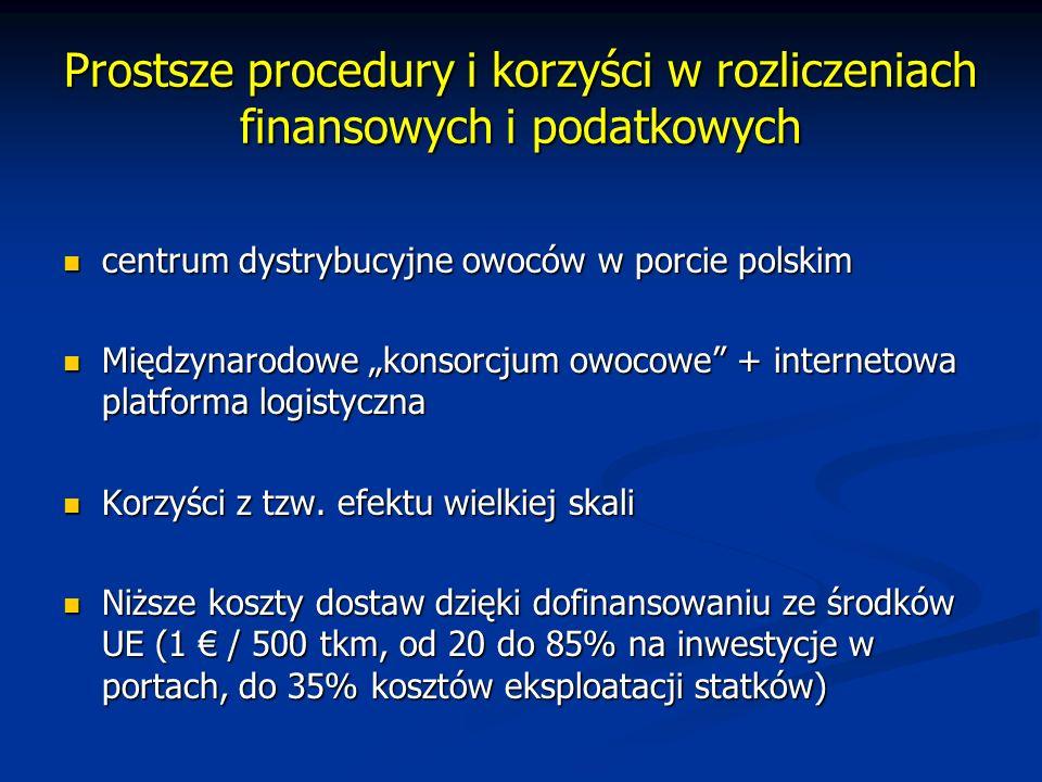 Prostsze procedury i korzyści w rozliczeniach finansowych i podatkowych centrum dystrybucyjne owoców w porcie polskim centrum dystrybucyjne owoców w p
