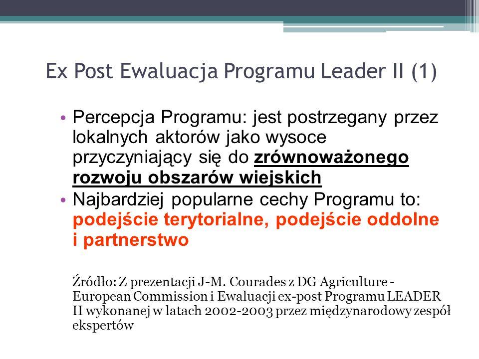 Ex Post Ewaluacja Programu Leader II (1) Percepcja Programu: jest postrzegany przez lokalnych aktorów jako wysoce przyczyniający się do zrównoważonego