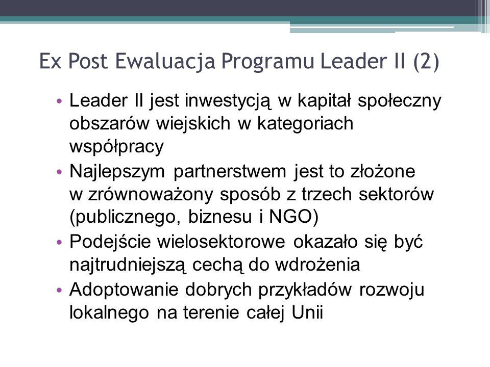 Ex Post Ewaluacja Programu Leader II (2) Leader II jest inwestycją w kapitał społeczny obszarów wiejskich w kategoriach współpracy Najlepszym partners