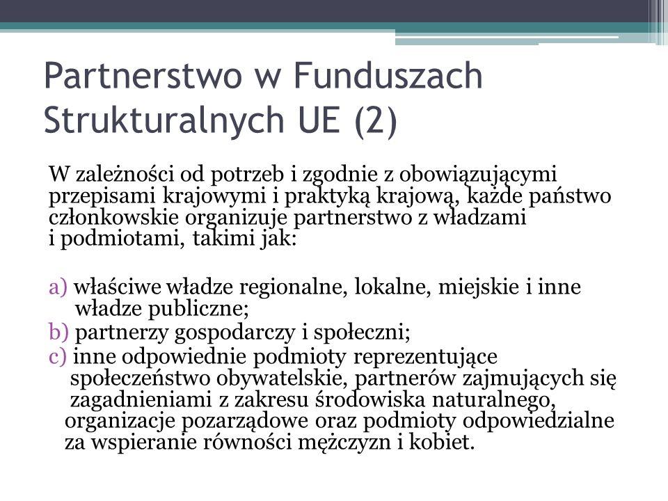 Partnerstwo w Funduszach Strukturalnych UE (2) W zależności od potrzeb i zgodnie z obowiązującymi przepisami krajowymi i praktyką krajową, każde państ
