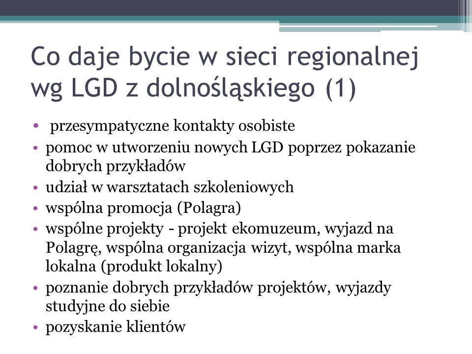 Co daje bycie w sieci regionalnej wg LGD z dolnośląskiego (1) przesympatyczne kontakty osobiste pomoc w utworzeniu nowych LGD poprzez pokazanie dobryc