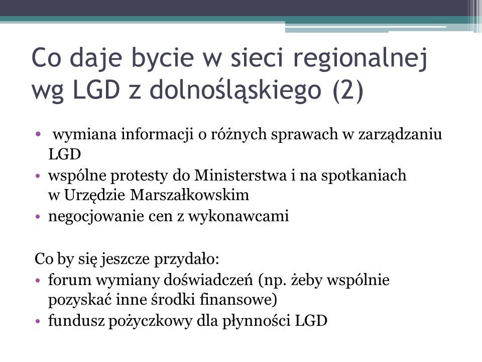 Co daje bycie w sieci regionalnej wg LGD z dolnośląskiego (2) wymiana informacji o różnych sprawach w zarządzaniu LGD wspólne protesty do Ministerstwa