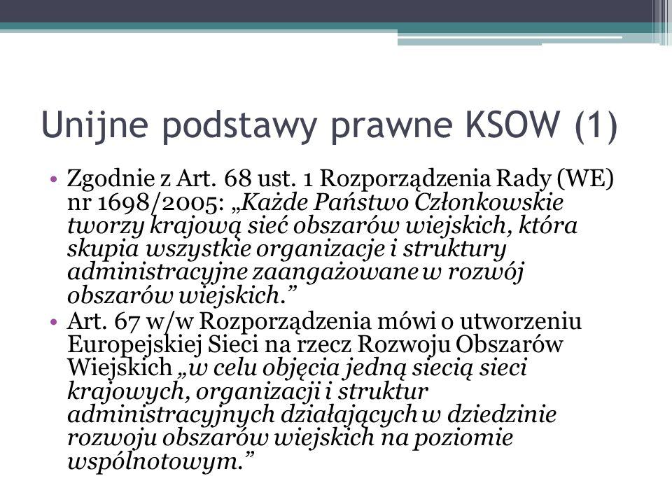 Unijne podstawy prawne KSOW (1) Zgodnie z Art. 68 ust. 1 Rozporządzenia Rady (WE) nr 1698/2005: Każde Państwo Członkowskie tworzy krajową sieć obszaró
