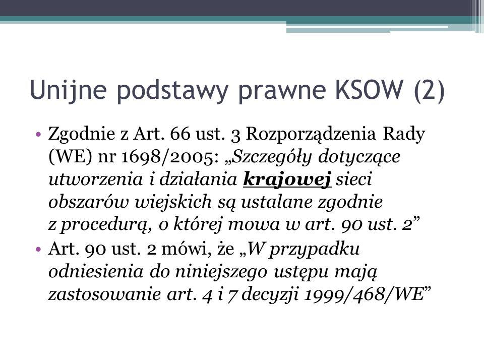 Unijne podstawy prawne KSOW (2) Zgodnie z Art. 66 ust. 3 Rozporządzenia Rady (WE) nr 1698/2005: Szczegóły dotyczące utworzenia i działania krajowej si