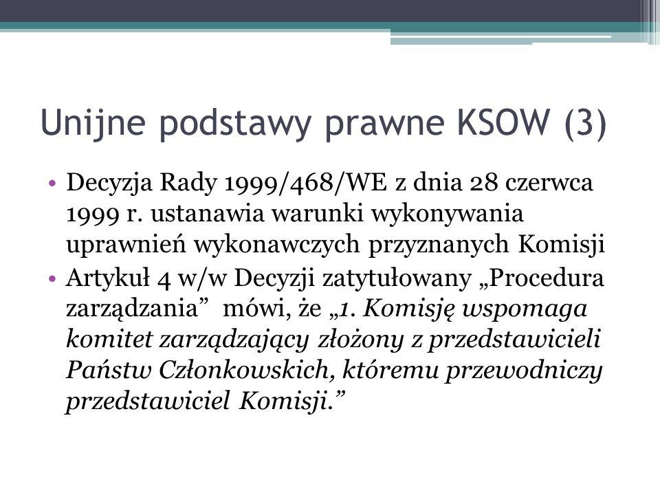 Unijne podstawy prawne KSOW (3) Decyzja Rady 1999/468/WE z dnia 28 czerwca 1999 r. ustanawia warunki wykonywania uprawnień wykonawczych przyznanych Ko