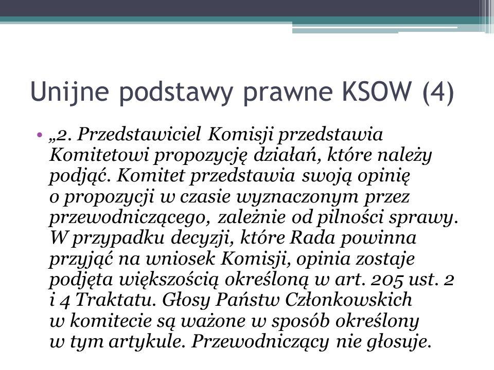 Unijne podstawy prawne KSOW (4) 2. Przedstawiciel Komisji przedstawia Komitetowi propozycję działań, które należy podjąć. Komitet przedstawia swoją op