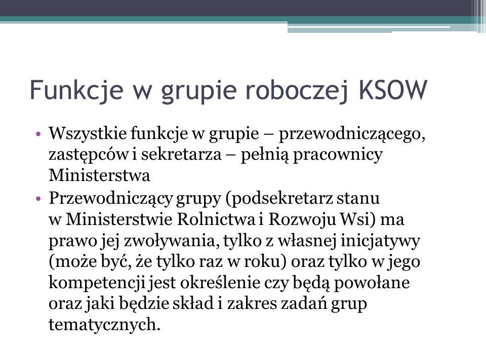 Funkcje w grupie roboczej KSOW Wszystkie funkcje w grupie – przewodniczącego, zastępców i sekretarza – pełnią pracownicy Ministerstwa Przewodniczący g