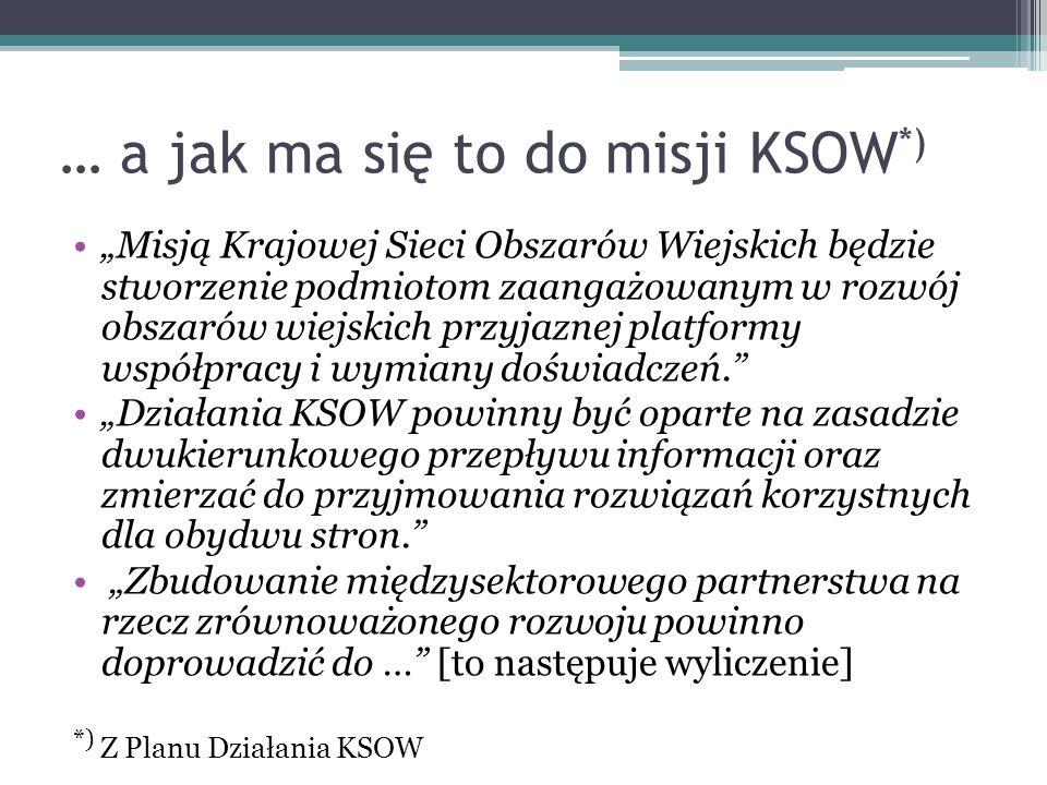 … a jak ma się to do misji KSOW *) Misją Krajowej Sieci Obszarów Wiejskich będzie stworzenie podmiotom zaangażowanym w rozwój obszarów wiejskich przyj
