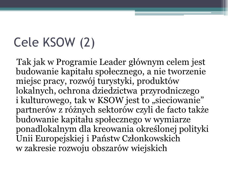 Cele KSOW (2) Tak jak w Programie Leader głównym celem jest budowanie kapitału społecznego, a nie tworzenie miejsc pracy, rozwój turystyki, produktów