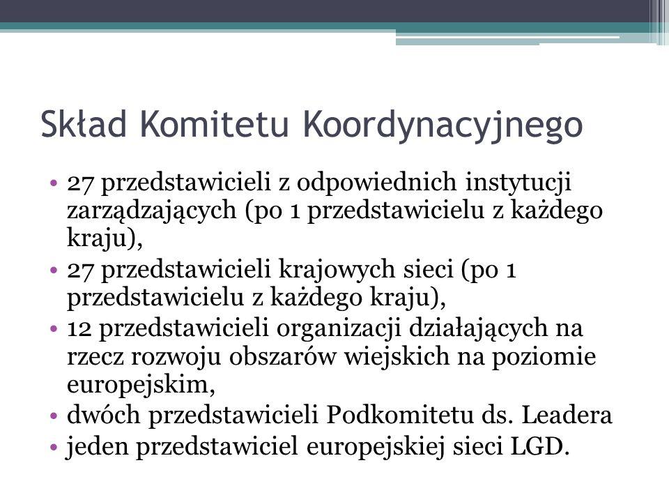 Skład Komitetu Koordynacyjnego 27 przedstawicieli z odpowiednich instytucji zarządzających (po 1 przedstawicielu z każdego kraju), 27 przedstawicieli