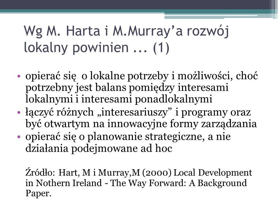 Wg M. Harta i M.Murraya rozwój lokalny powinien... (1) opierać się o lokalne potrzeby i możliwości, choć potrzebny jest balans pomiędzy interesami lok