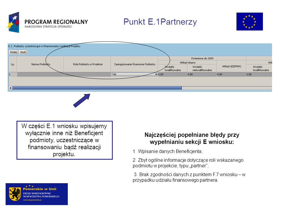 W części E.1 wniosku wpisujemy wyłącznie inne niż Beneficjent podmioty, uczestniczące w finansowaniu bądź realizacji projektu.