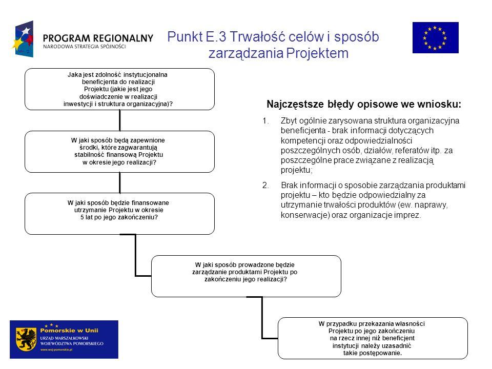 Punkt E.3 Trwałość celów i sposób zarządzania Projektem Jaka jest zdolność instytucjonalna beneficjenta do realizacji Projektu (jakie jest jego doświadczenie w realizacji inwestycji i struktura organizacyjna).