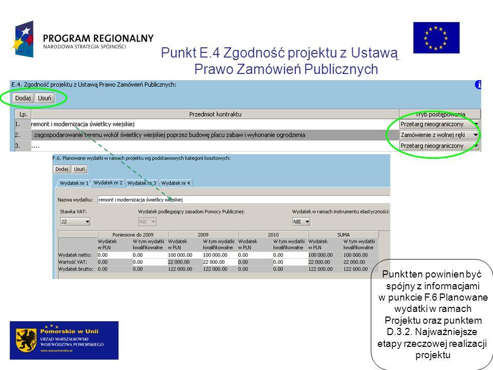Punkt E.4 Zgodność projektu z Ustawą Prawo Zamówień Publicznych Punkt ten powinien być spójny z informacjami w punkcie F.6 Planowane wydatki w ramach Projektu oraz punktem D.3.2.