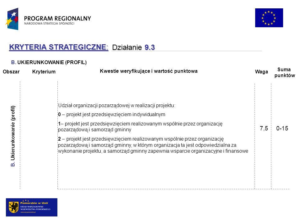 KRYTERIA STRATEGICZNE: Działanie 9.3 Udział organizacji pozarządowej w realizacji projektu: 0 – projekt jest przedsięwzięciem indywidualnym 1– projekt jest przedsięwzięciem realizowanym wspólnie przez organizację pozarządową i samorząd gminny 2 – projekt jest przedsięwzięciem realizowanym wspólnie przez organizację pozarządową i samorząd gminny, w którym organizacja ta jest odpowiedzialna za wykonanie projektu, a samorząd gminny zapewnia wsparcie organizacyjne i finansowe B.