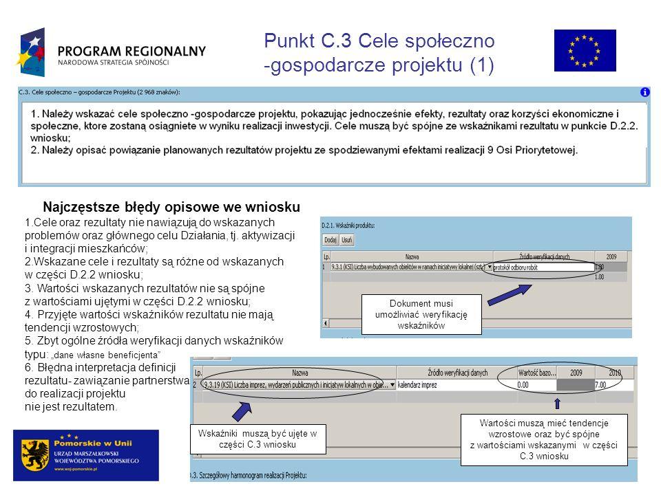 Punkt C.3 Cele społeczno -gospodarcze projektu (1) Najczęstsze błędy opisowe we wniosku 1.Cele oraz rezultaty nie nawiązują do wskazanych problemów oraz głównego celu Działania, tj.