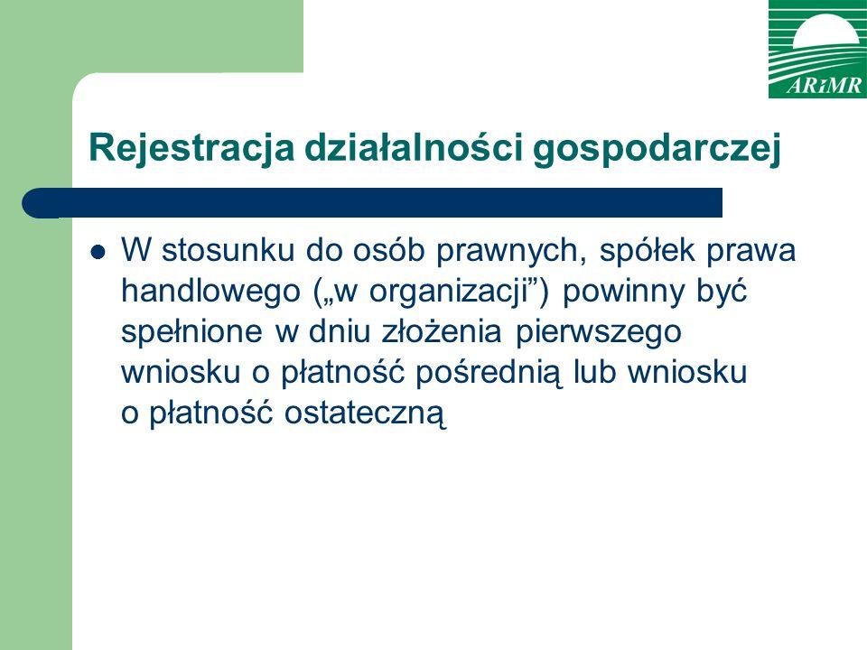Rejestracja działalności gospodarczej W stosunku do osób prawnych, spółek prawa handlowego (w organizacji) powinny być spełnione w dniu złożenia pierw