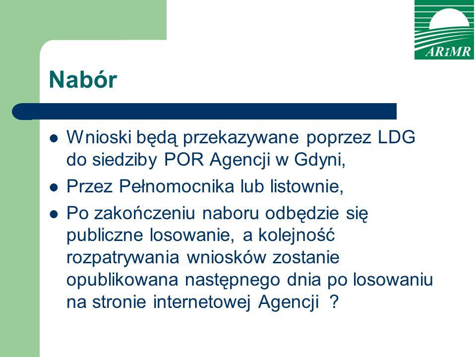 Nabór Wnioski będą przekazywane poprzez LDG do siedziby POR Agencji w Gdyni, Przez Pełnomocnika lub listownie, Po zakończeniu naboru odbędzie się publ