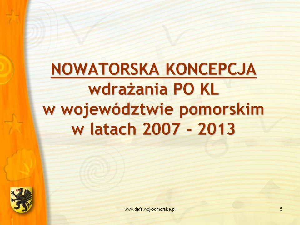 www.defs.woj-pomorskie.pl5 NOWATORSKA KONCEPCJA wdrażania PO KL w województwie pomorskim w latach 2007 - 2013