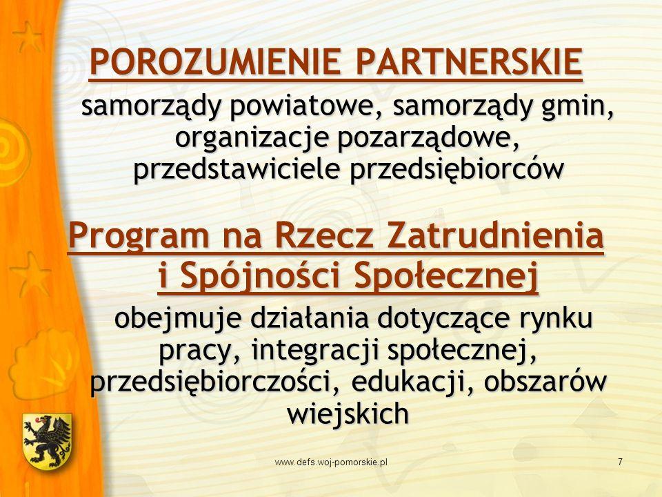 www.defs.woj-pomorskie.pl7 POROZUMIENIE PARTNERSKIE samorządy powiatowe, samorządy gmin, organizacje pozarządowe, przedstawiciele przedsiębiorców Prog