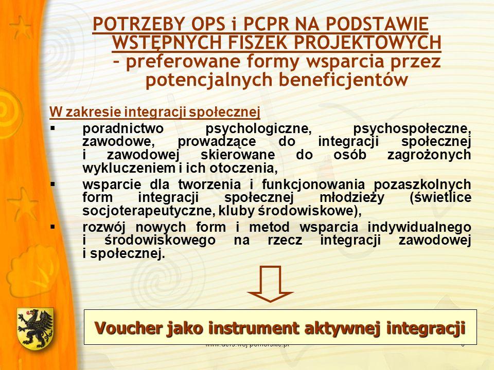 www.defs.woj-pomorskie.pl8 Voucher jako instrument aktywnej integracji POTRZEBY OPS i PCPR NA PODSTAWIE WSTĘPNYCH FISZEK PROJEKTOWYCH – preferowane fo