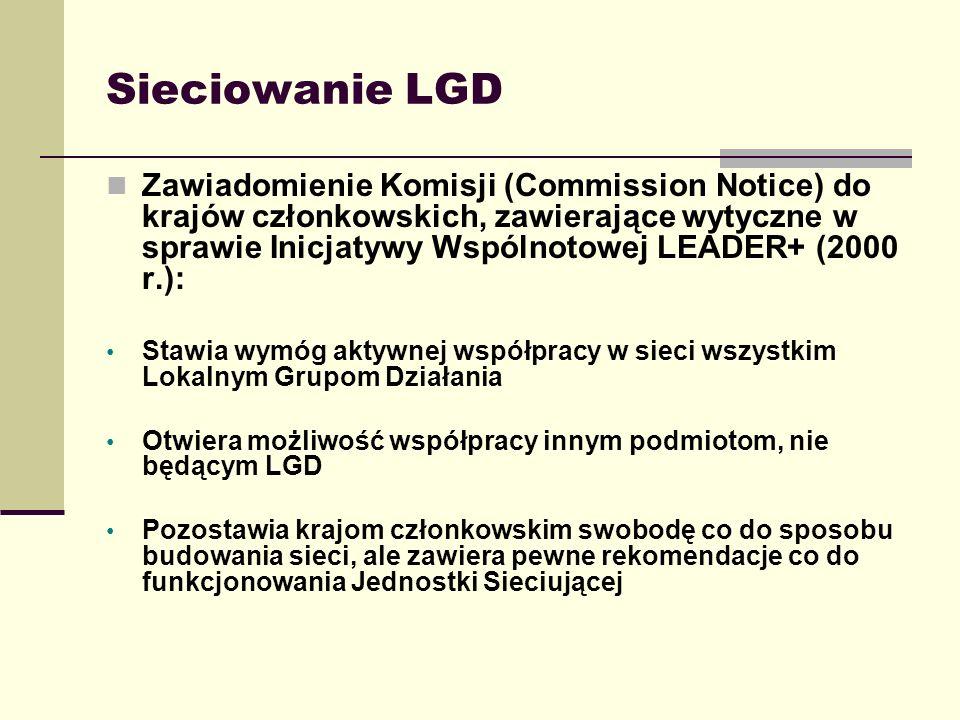 Sieciowanie LGD Zawiadomienie Komisji (Commission Notice) do krajów członkowskich, zawierające wytyczne w sprawie Inicjatywy Wspólnotowej LEADER+ (200