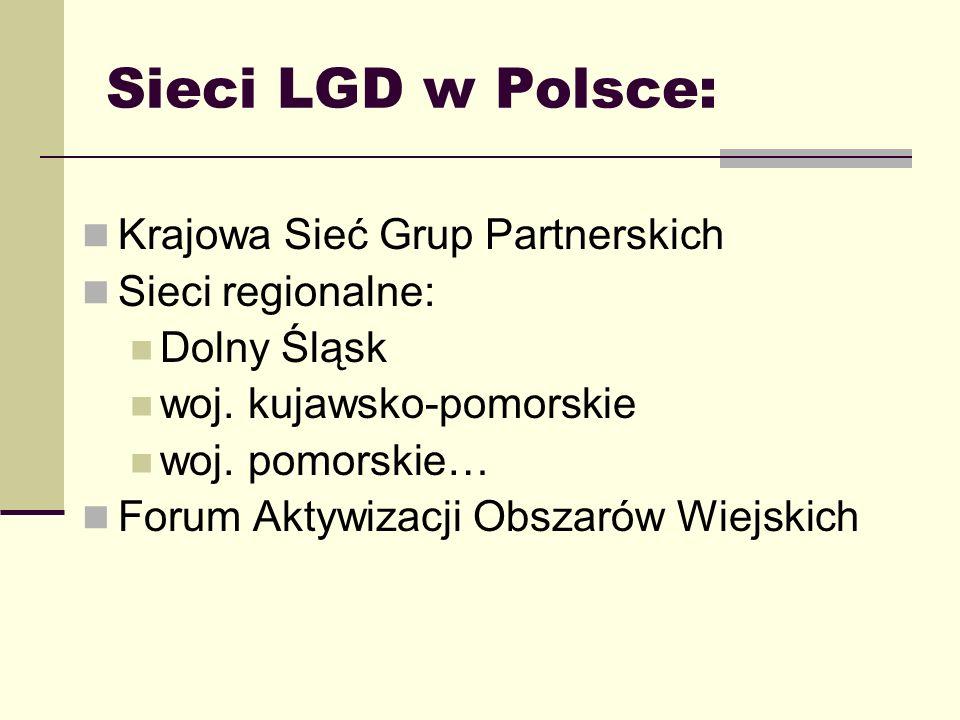 Sieci LGD w Polsce: Krajowa Sieć Grup Partnerskich Sieci regionalne: Dolny Śląsk woj. kujawsko-pomorskie woj. pomorskie… Forum Aktywizacji Obszarów Wi