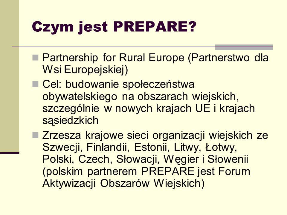 Czym jest PREPARE? Partnership for Rural Europe (Partnerstwo dla Wsi Europejskiej) Cel: budowanie społeczeństwa obywatelskiego na obszarach wiejskich,