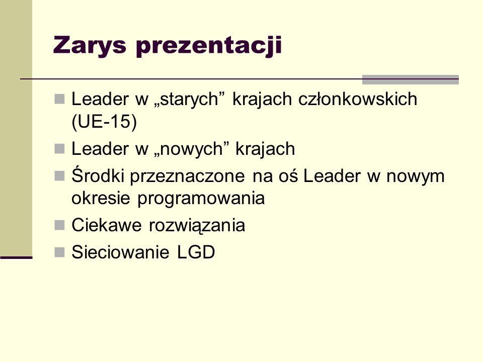 Zarys prezentacji Leader w starych krajach członkowskich (UE-15) Leader w nowych krajach Środki przeznaczone na oś Leader w nowym okresie programowani