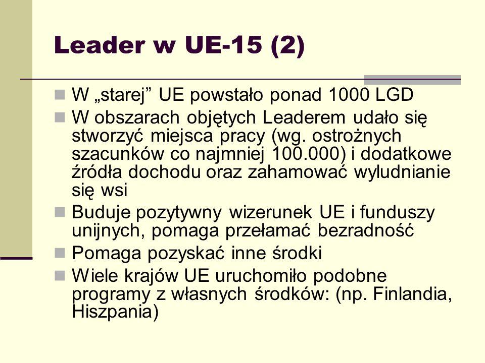 Leader w nowych krajach członkowskich Nie jest Inicjatywą Wspólnotową i początkowo nie był przewidziany dla nowych krajów W grudniu 2002 ustalono, że może być uwzględniony w programach operacyjnych 2004-2006 jako działanie Wybrane przez 6 krajów przystępujących w 2004 roku (Czechy, Estonia, Litwa, Łotwa, Polska, Węgry)