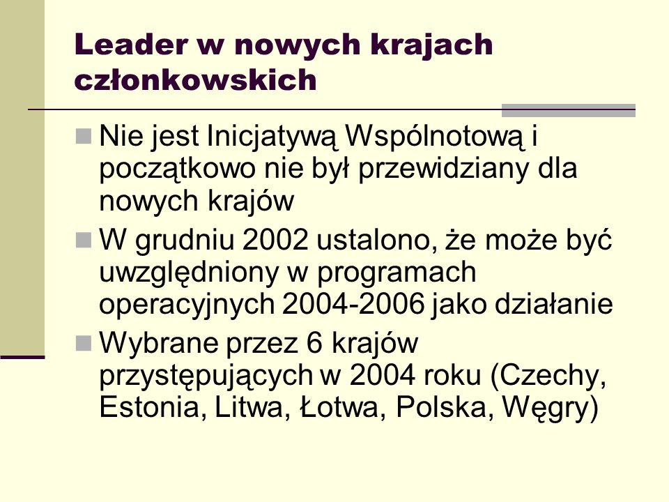 Leader w nowych krajach a IW LEADER - najważniejsze różnice Mniejsze środki przypadające na LGD Ze względu na pochodzenie środków – trudniejsze uzyskiwanie zaliczek Wymóg posiadania przez LGD osobowości prawnej od samego początku LGD nie mogą wybierać projektów (wyjątki: Litwa, niektóre programy czeskie, Bułgaria) ani finansować inwestycji Późne uruchomienie oficjalnego procesu sieciowania