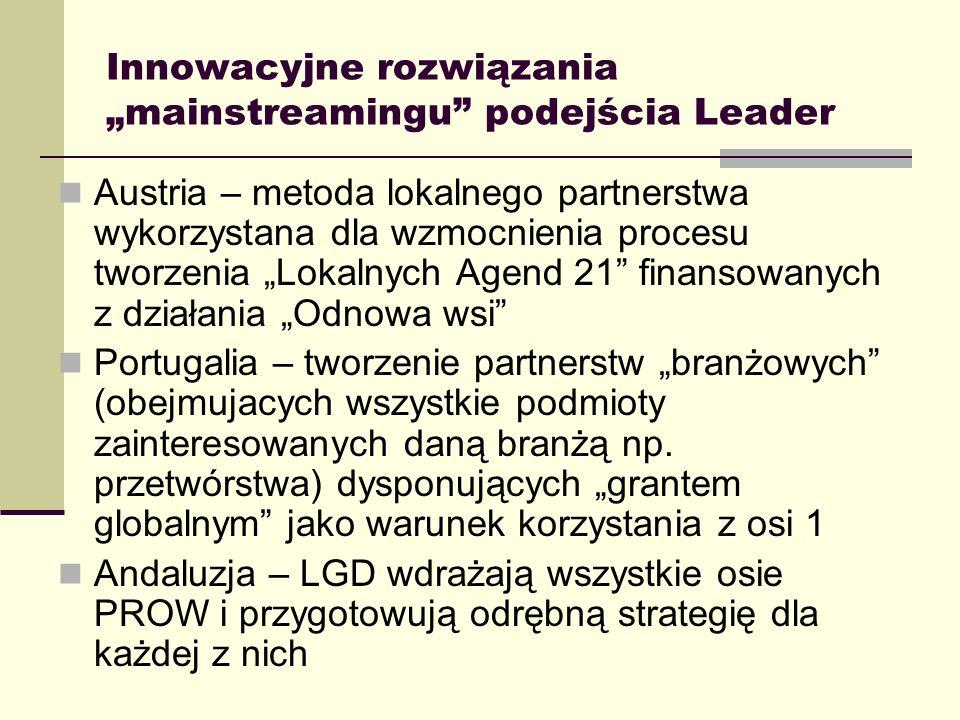 Typologia LGD w zależności od struktury wdrażania Inspiracja: Robert Lukesch, Austria LGD jako inkubator, przecierający szlaki dla innych działań (przykład – Austria) LGD jako podstawa systemu tworzenia i wdrażania całej polityki obszarów wiejskich (przykład – Finlandia, Hiszpania) LGD łączy różne źródła finansowania i kieruje je na rozwój lokalny (Portugalia, Grecja)