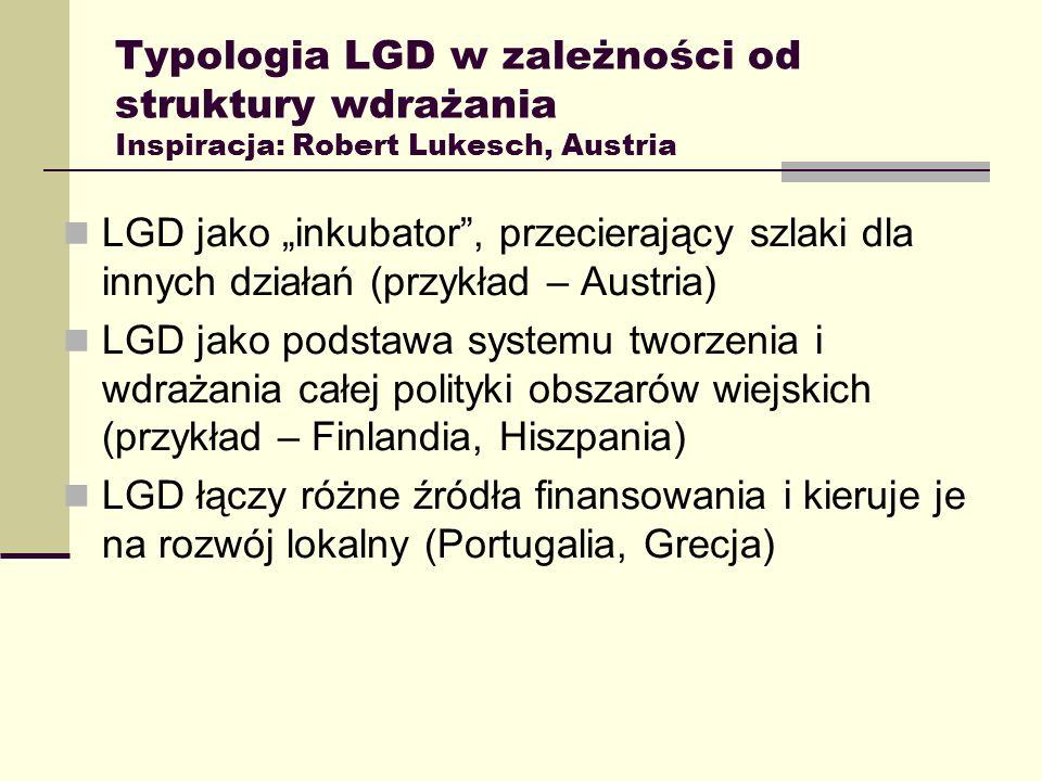 Typologia LGD w zależności od struktury wdrażania Inspiracja: Robert Lukesch, Austria LGD jako inkubator, przecierający szlaki dla innych działań (prz